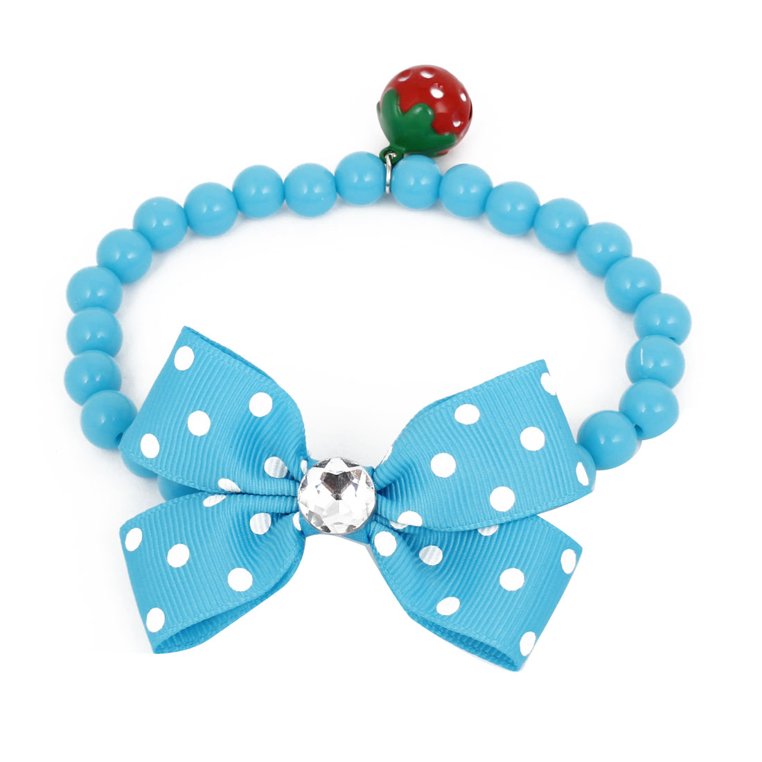 Metal Bell Pendant Bowtie Accent Pet Dog Plastic Round Beads Collar Necklace Blue S
