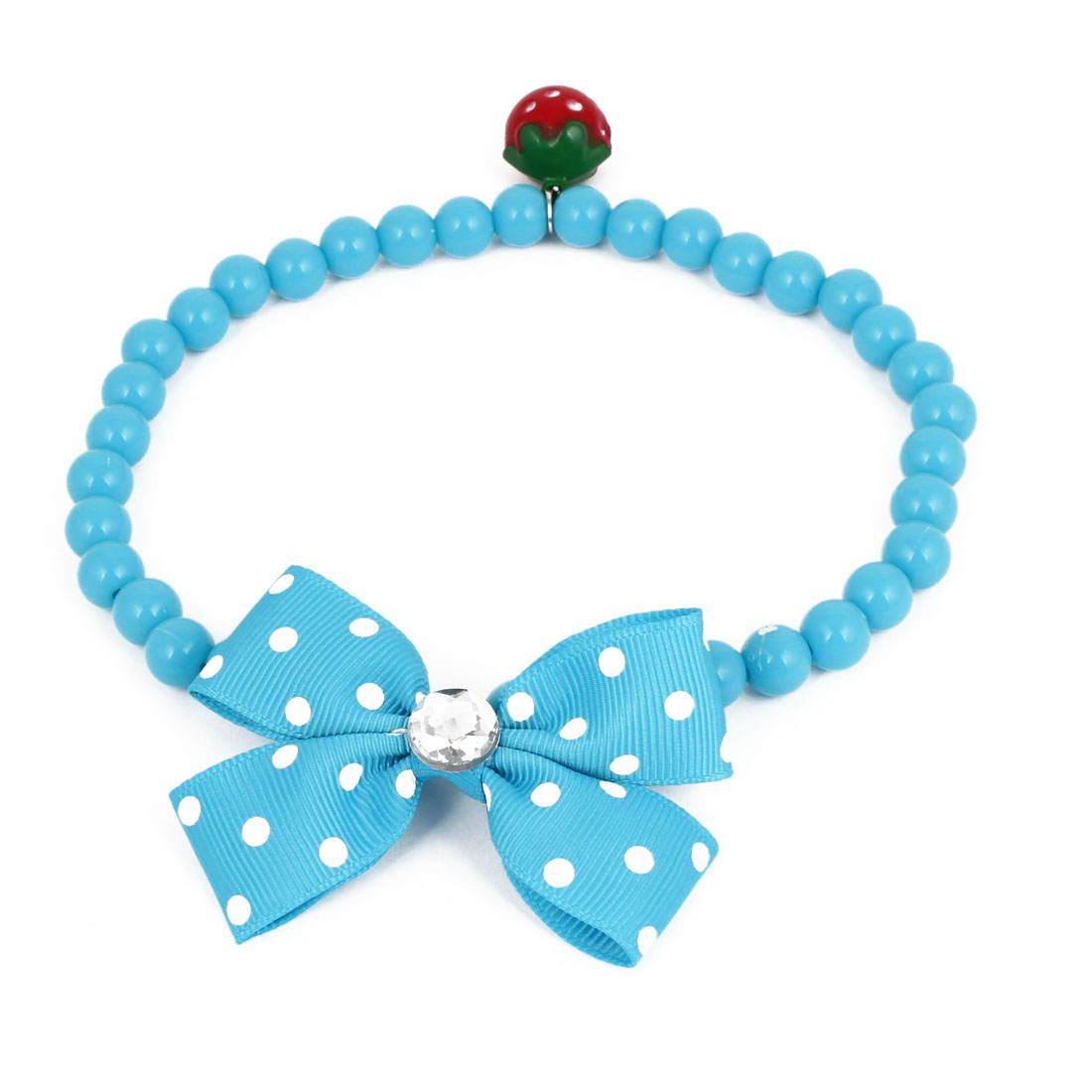 Metal Bell Pendant Bowtie Accent Pet Dog Plastic Round Beads Collar Necklace Blue L