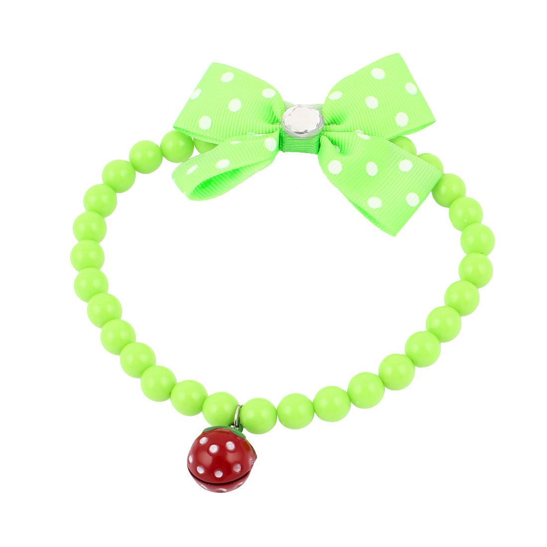 Metal Bell Pendant Bowtie Accent Pet Dog Plastic Beads Collar Necklace Green M