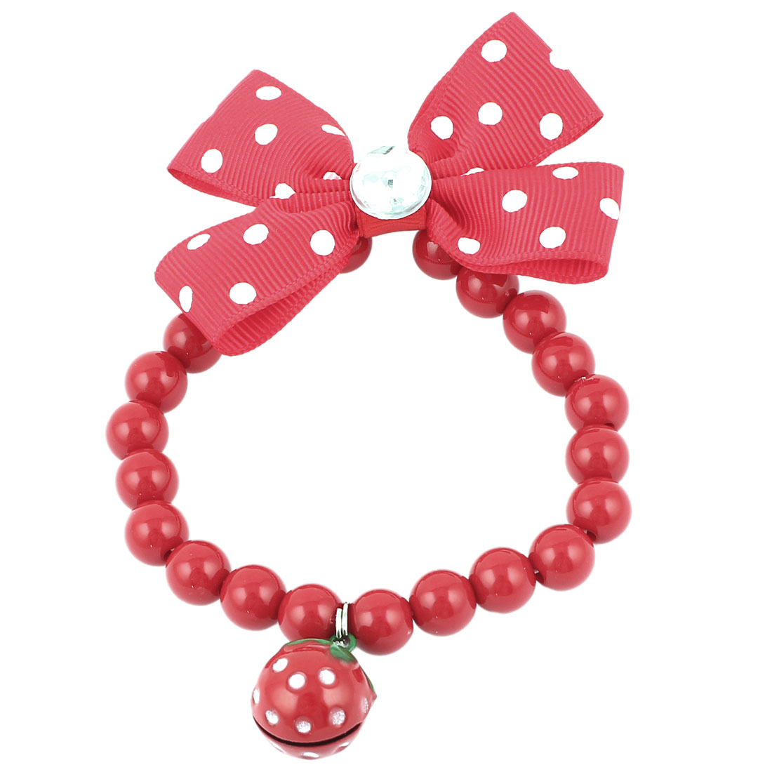 Metal Bell Pendant Bowtie Accent Pet Dog Plastic Beads Collar Necklace Red XS