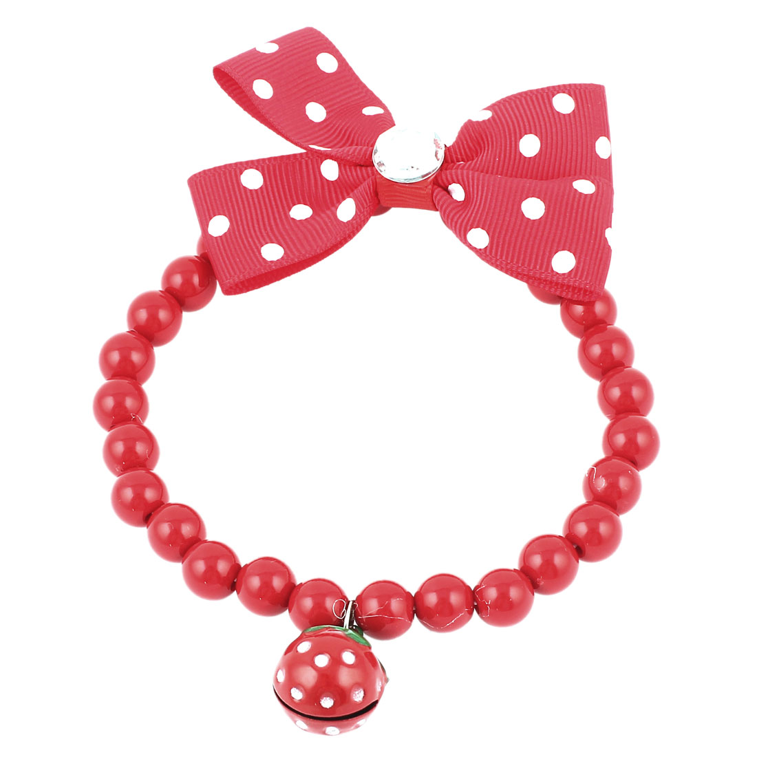 Metal Bell Pendant Bowtie Accent Pet Dog Plastic Beads Collar Necklace Red S