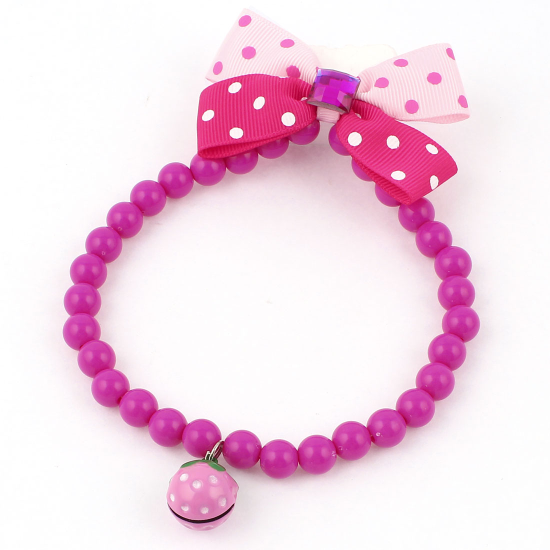 Faux Crystal Bowtie Accent Pet Dog Plastic Beads Collar Necklace Fuchsia Red Pink S