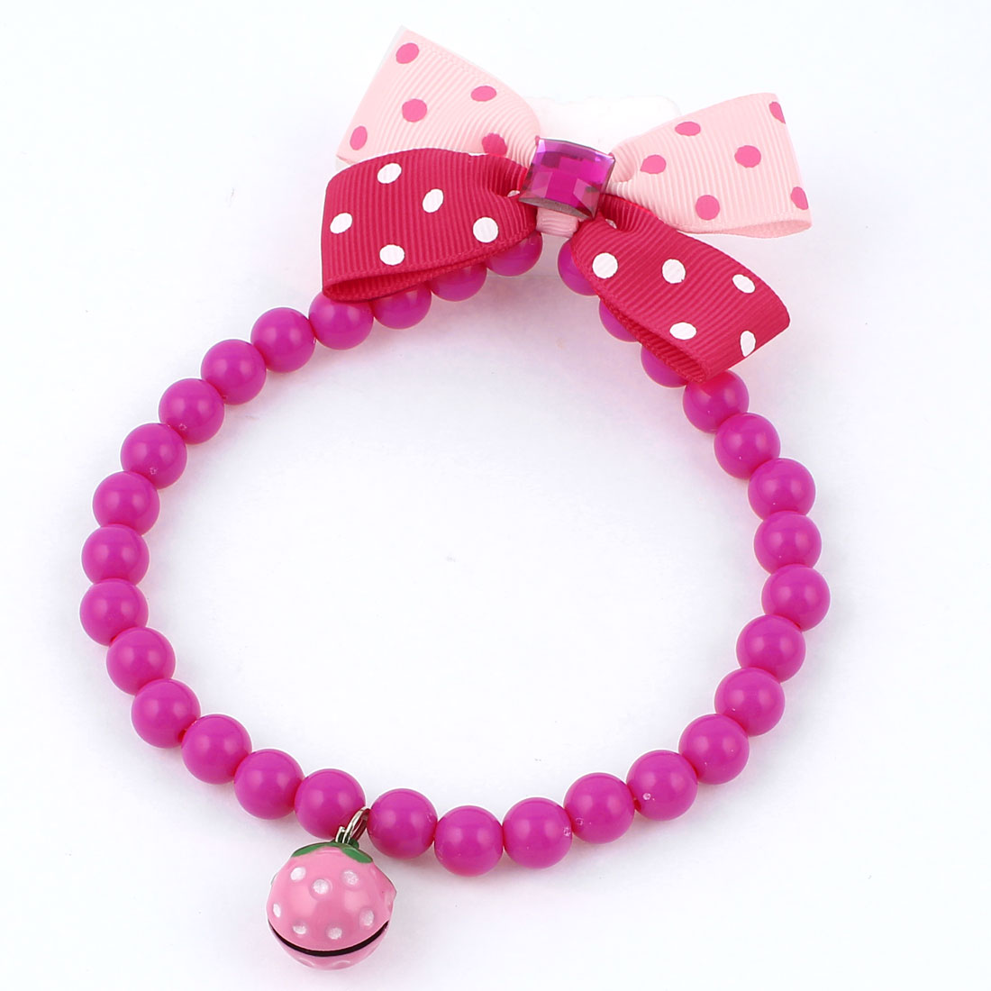 Faux Crystal Bowtie Accent Pet Dog Plastic Beads Collar Necklace Fuchsia Red Pink M