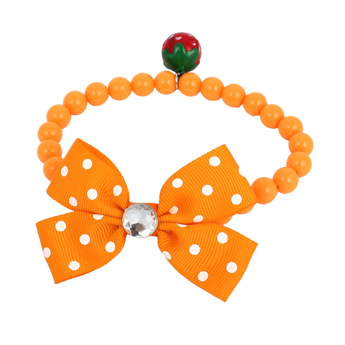 Metal Bell Pendant Bowtie Accent Pet Dog Plastic Round Beads Collar Necklace Orange XS