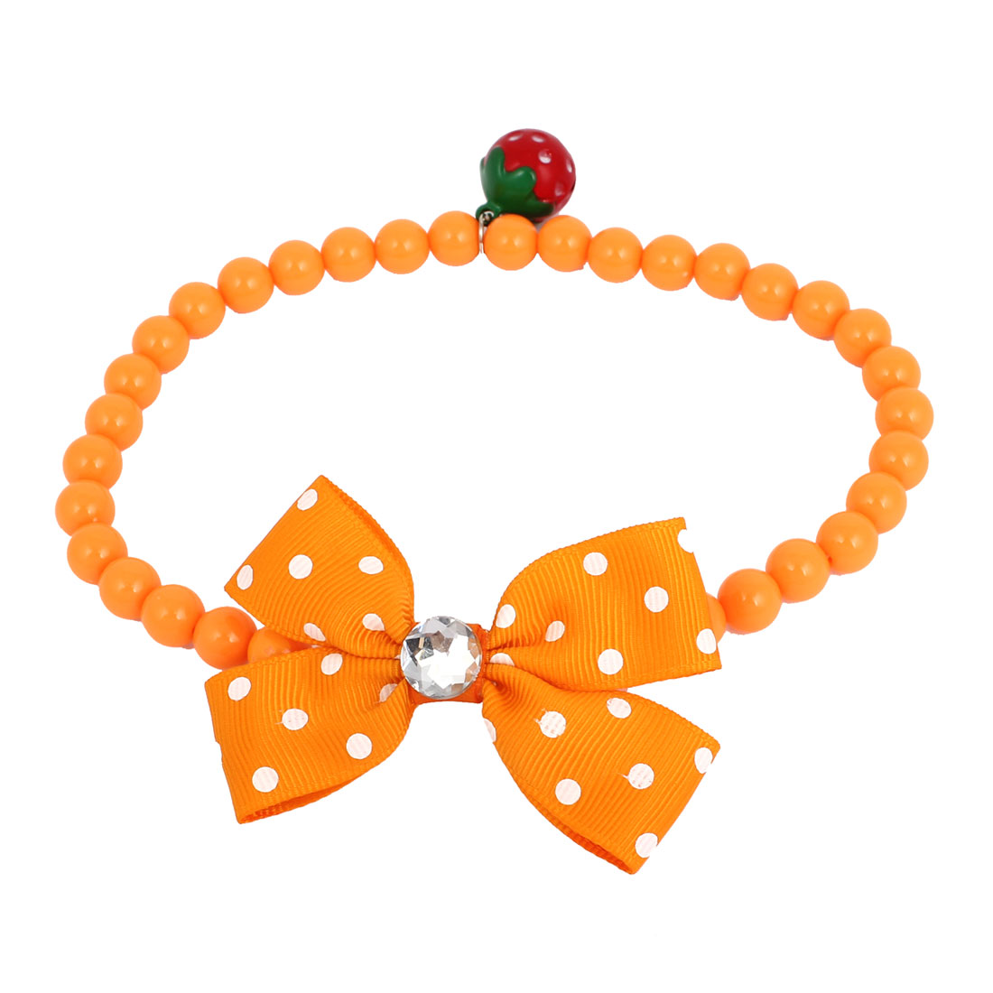 Metal Bell Pendant Bowtie Accent Pet Dog Plastic Round Beads Collar Necklace Orange L
