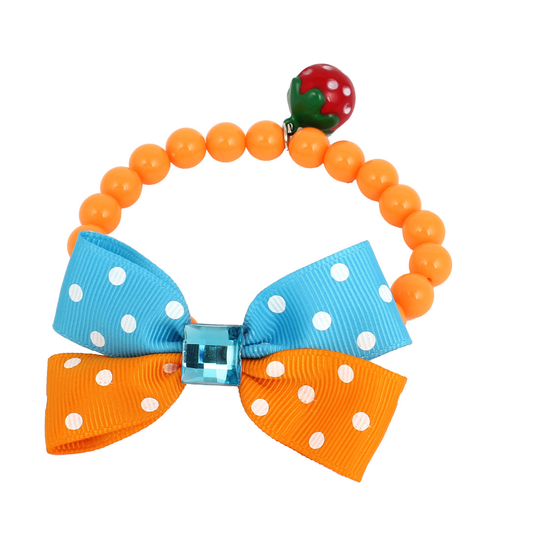Metal Bell Pendant Bowtie Accent Pet Dog Plastic Round Beads Collar Necklace Orange Blue XS