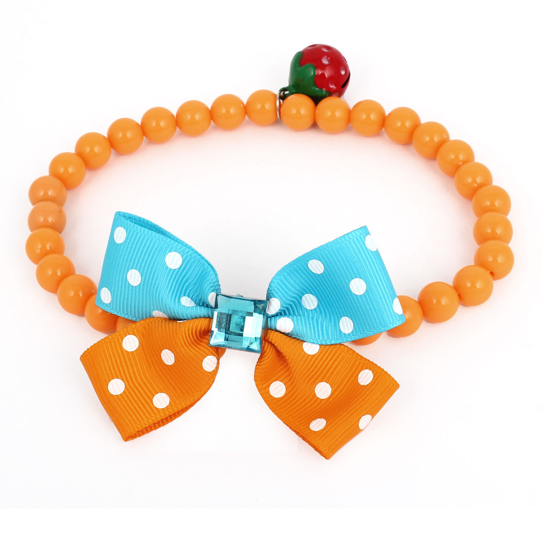 Metal Bell Pendant Bowtie Accent Pet Dog Plastic Round Beads Collar Necklace Orange Blue S