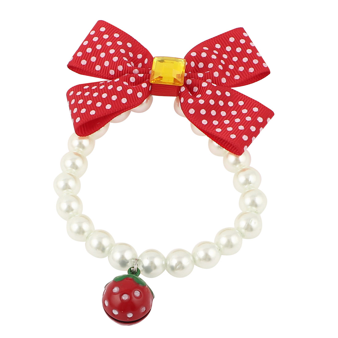 Metal Bell Pendant Bowtie Accent Pet Dog Plastic Beads Imitation Pearls Collar Necklace White Red XS