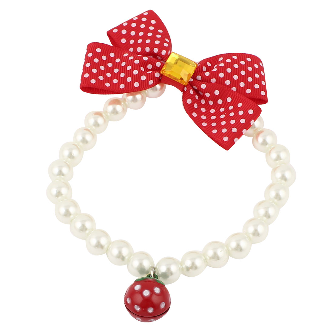 Metal Bell Pendant Bowtie Accent Pet Dog Plastic Beads Pearls Collar Necklace White Red S