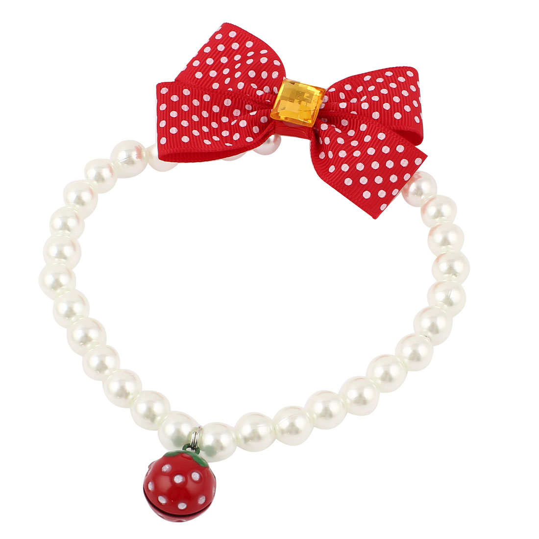 Metal Bell Pendant Bowtie Accent Pet Dog Plastic Beads Pearls Collar Necklace White Red M