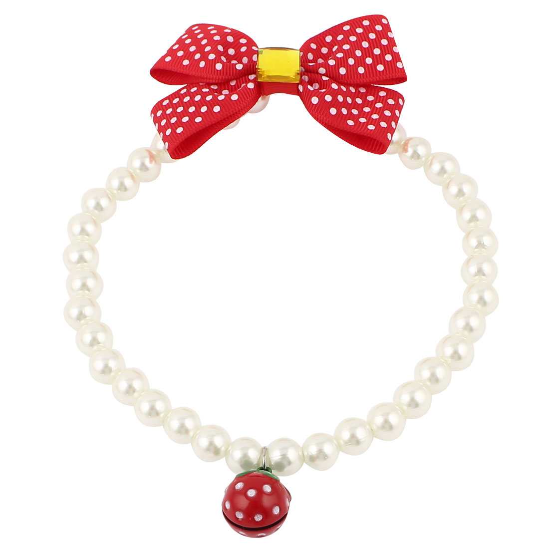 Metal Bell Pendant Bowtie Accent Pet Dog Plastic Beads Pearls Collar Necklace White Red L