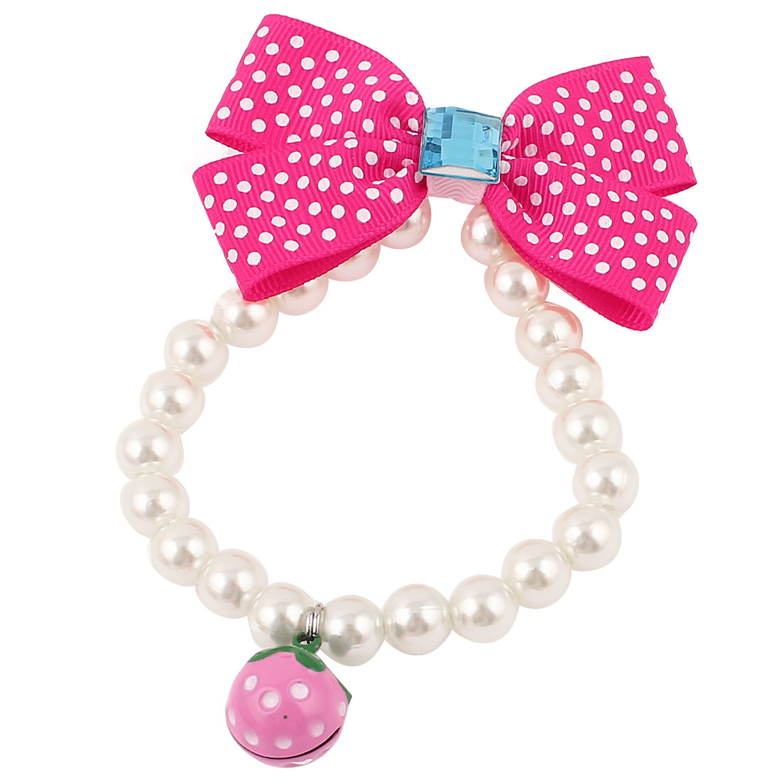 Metal Bell Pendant Bowtie Accent Pet Dog Plastic Beads Pearls Collar Necklace White Fuchsia XS