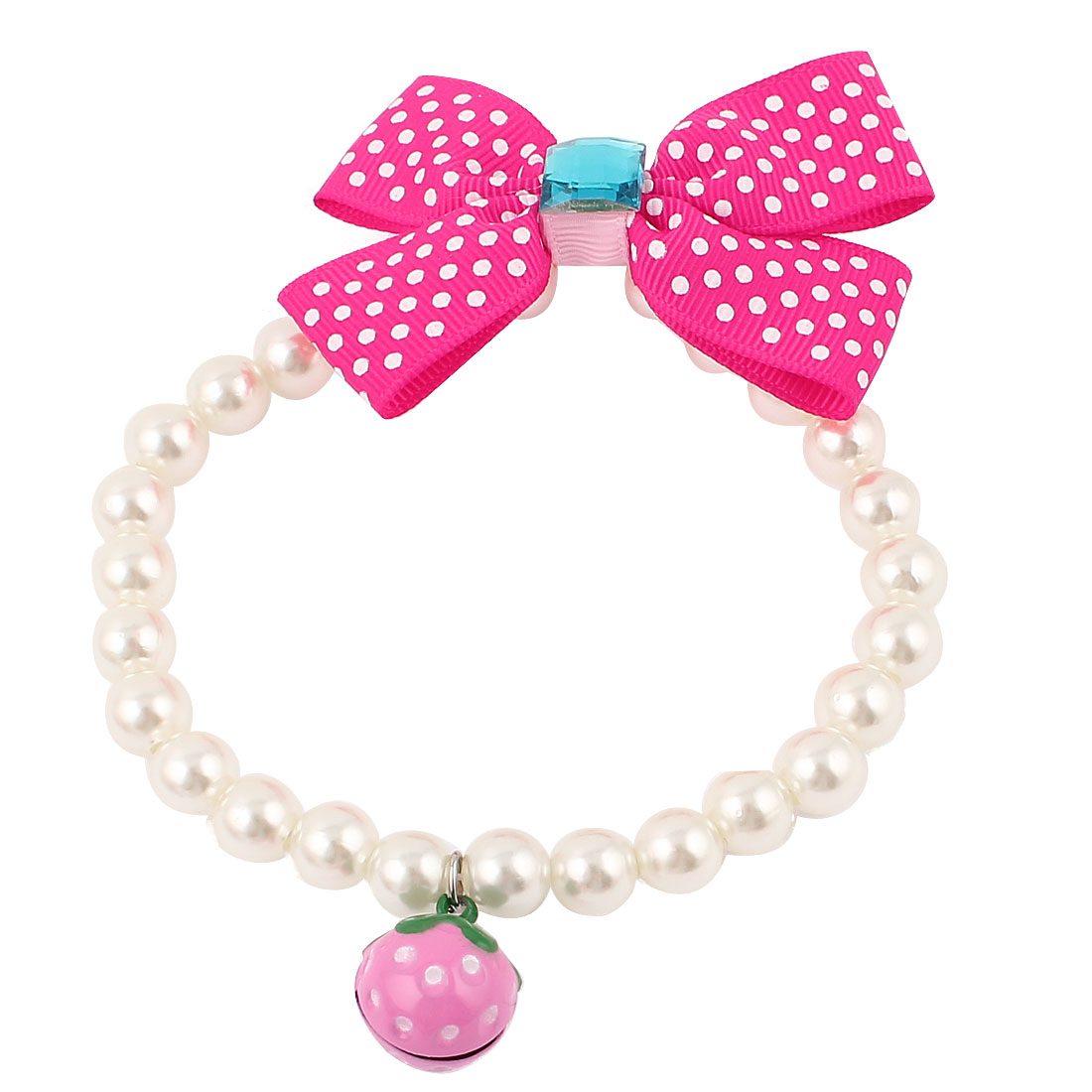 Metal Bell Pendant Bowtie Accent Pet Dog Plastic Beads Pearls Collar Necklace White Fuchsia S
