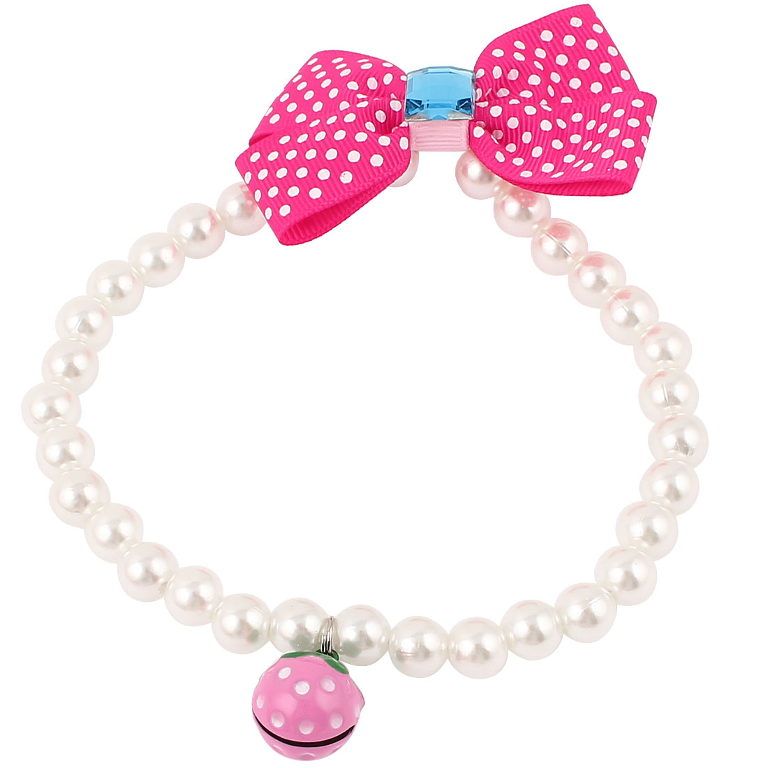 Metal Bell Pendant Bowtie Accent Pet Dog Plastic Beads Pearls Collar Necklace White Fuchsia M
