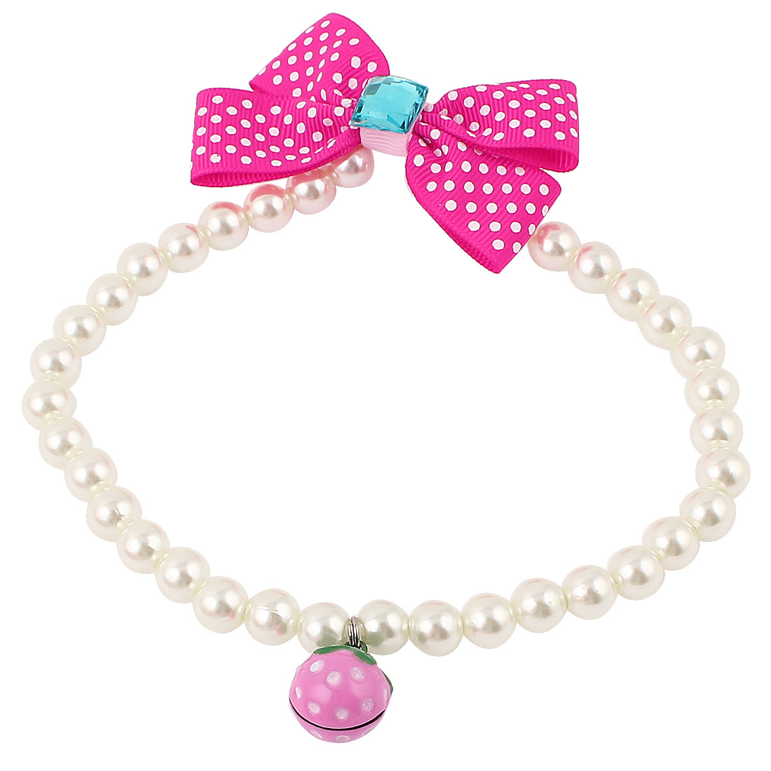Metal Bell Pendant Bowtie Accent Pet Dog Plastic Beads Pearls Collar Necklace White Fuchsia L