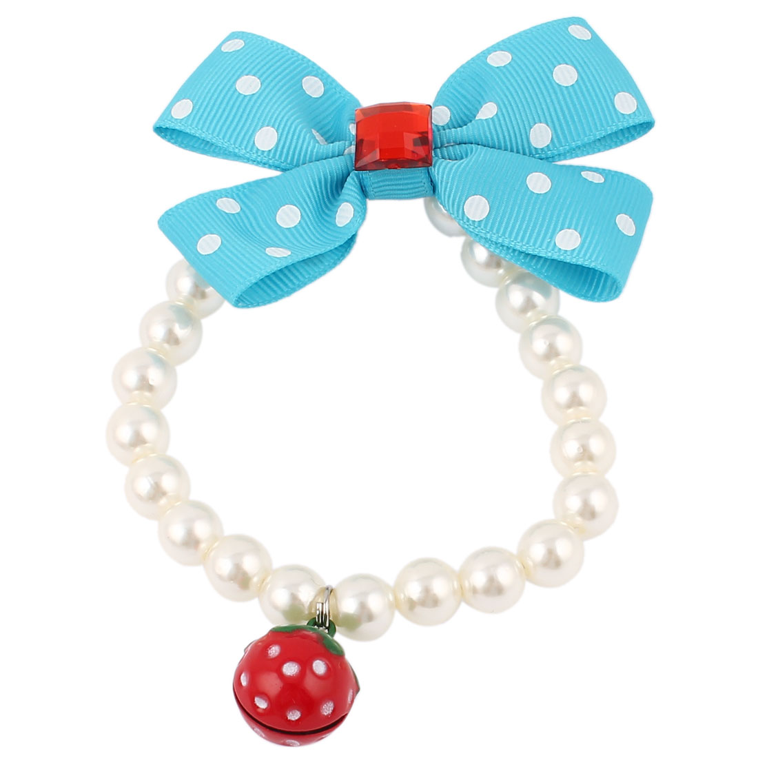 Strawberry Bell Pendant Bowknot Accent Pet Dog Plastic Beads Imitation Pearls Collar Necklace White Blue XS