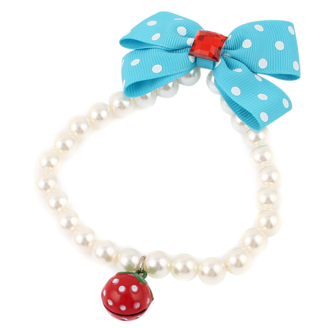 Strawberry Bell Pendant Bowknot Accent Pet Dog Plastic Beads Imitation Pearls Collar Necklace White Blue S