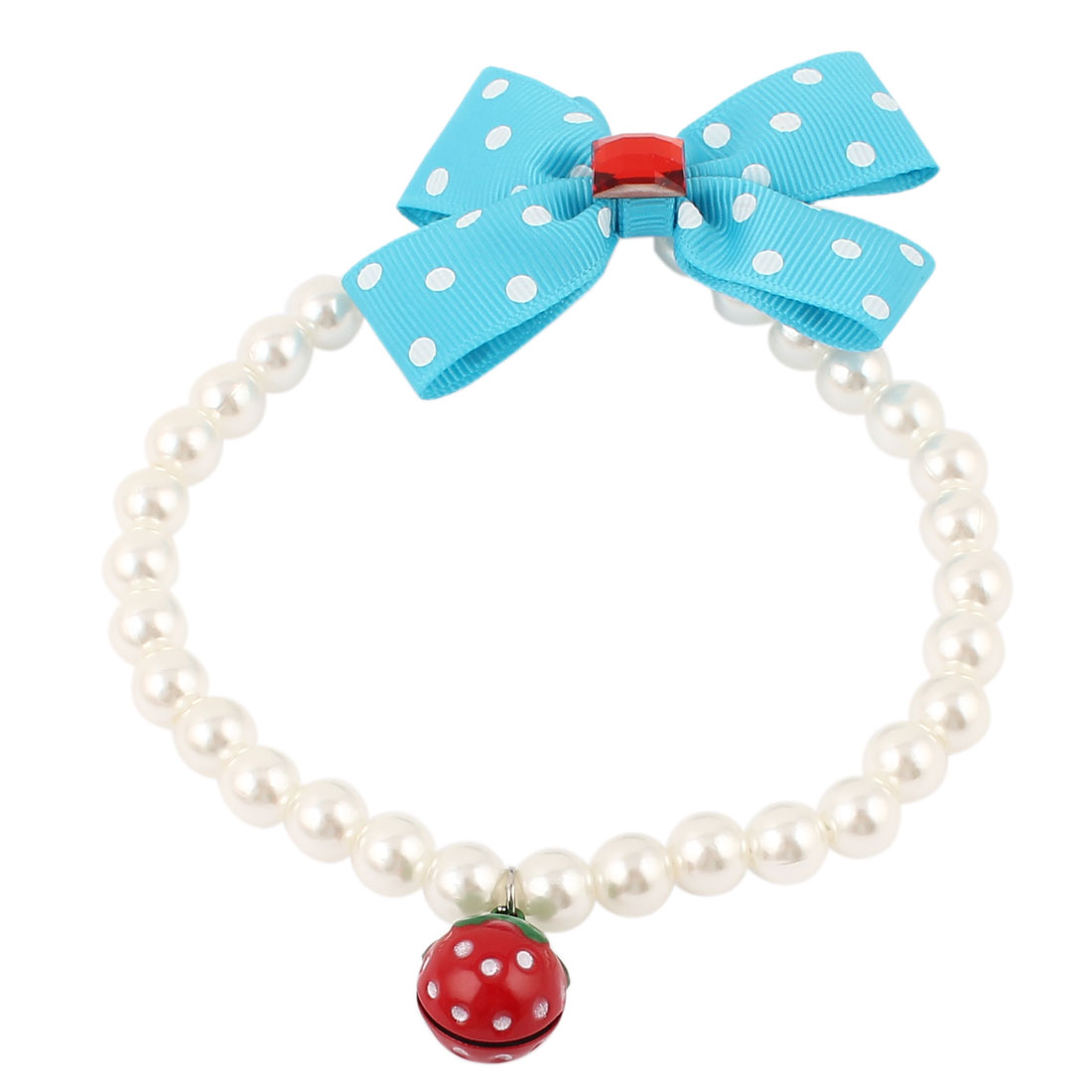 Strawberry Bell Pendant Bowknot Accent Pet Dog Plastic Beads Pearls Collar Necklace White Blue M