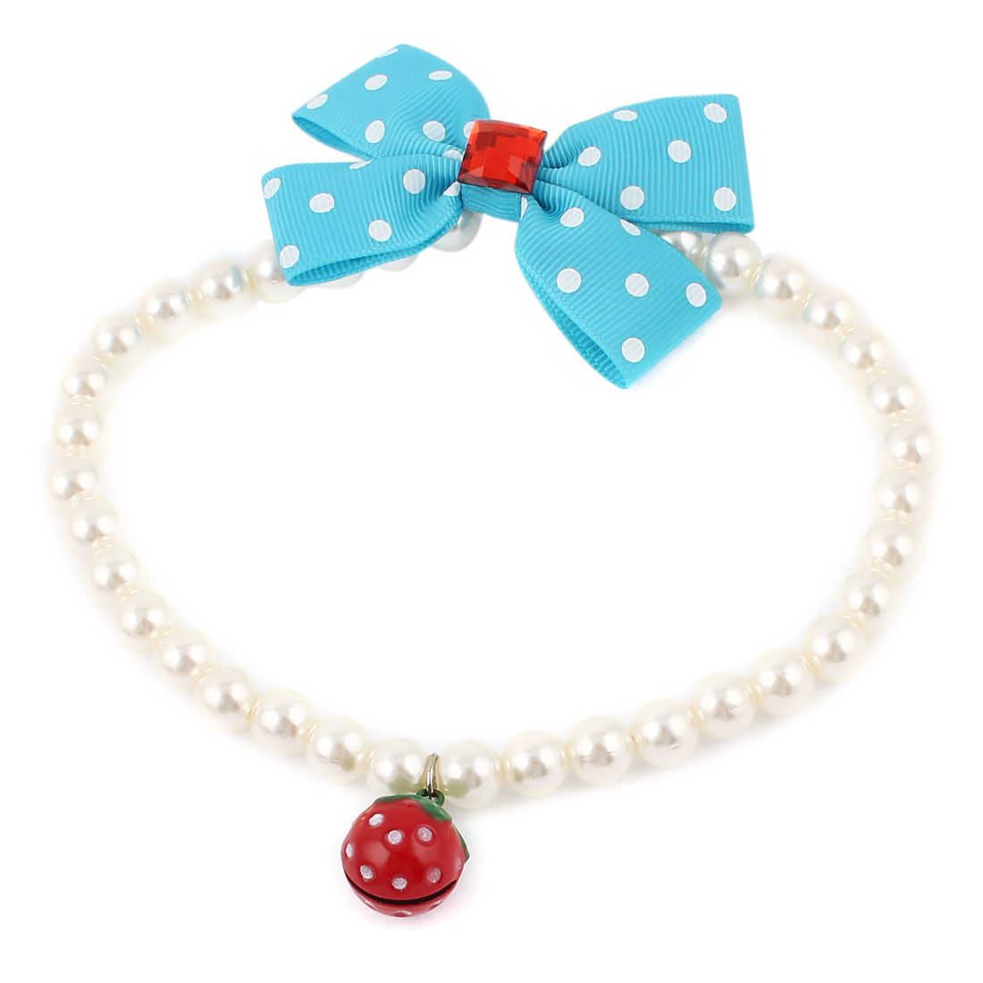 Strawberry Bell Pendant Bowknot Accent Pet Dog Plastic Beads Imitation Pearls Collar Necklace White Blue L