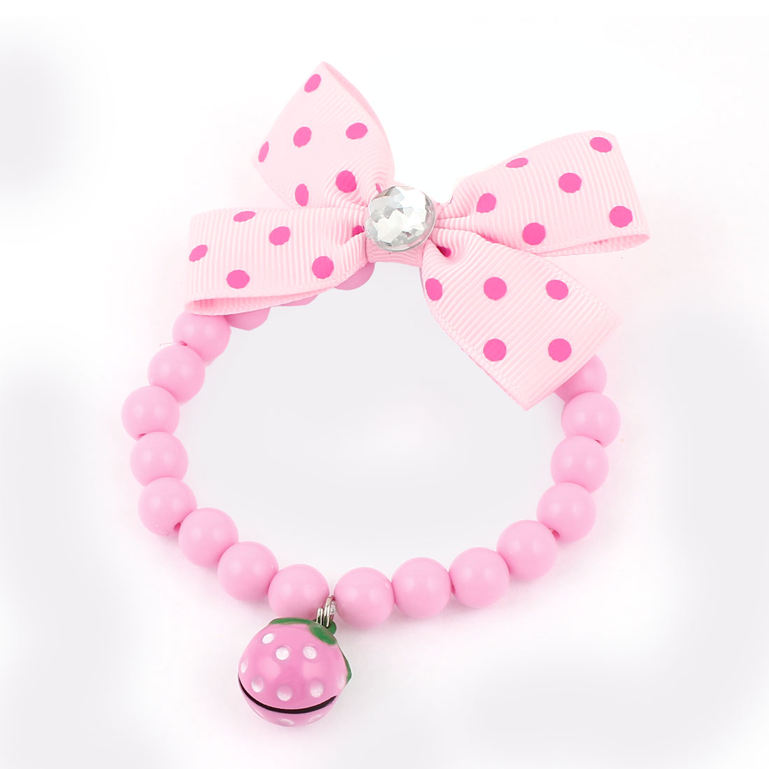 Metal Bell Pendant Bowtie Accent Pet Dog Plastic Round Beads Collar Necklace Pink XS
