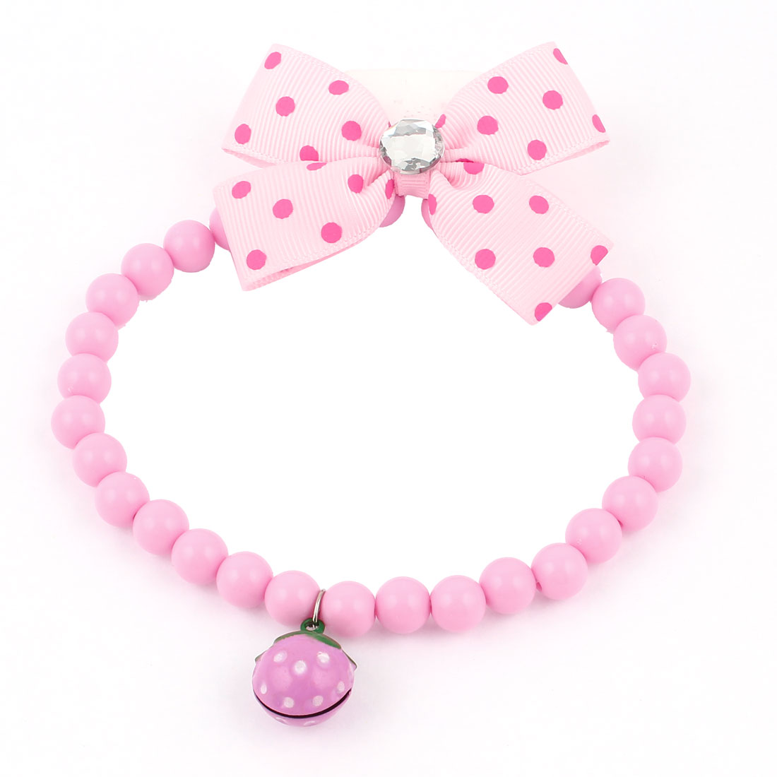Metal Bell Pendant Bowtie Accent Pet Dog Plastic Round Beads Collar Necklace Pink M