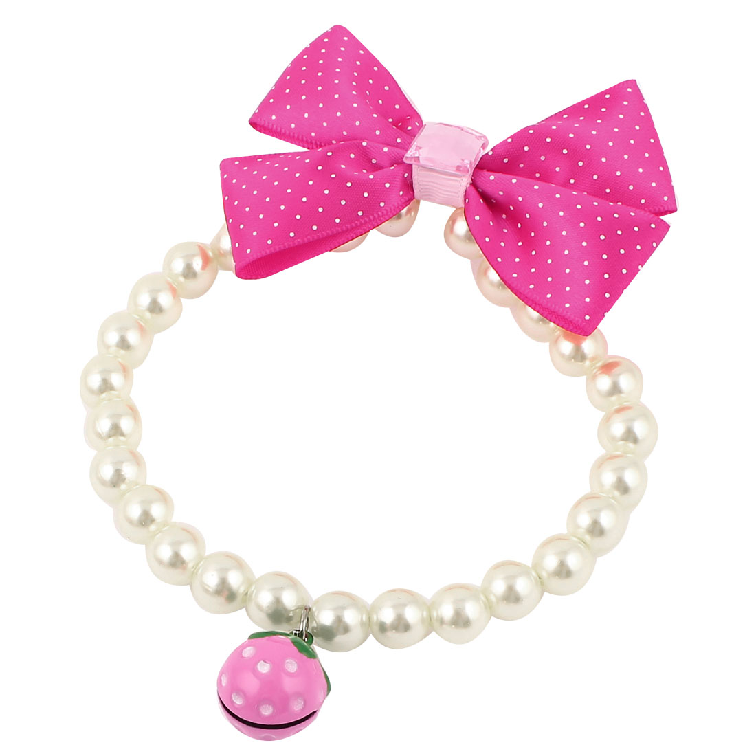 Metal Bell Pendant Bowknot Accent Pet Dog Plastic Beads Pearls Collar Necklace White Fuchsia S