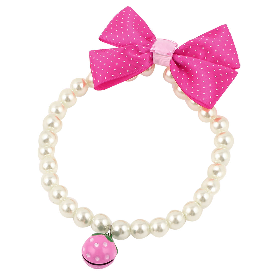 Metal Bell Pendant Bowknot Accent Pet Dog Plastic Beads Pearls Collar Necklace White Fuchsia M