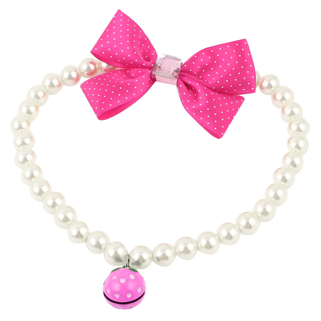 Metal Bell Pendant Bowknot Accent Pet Dog Plastic Imitation Pearls Collar Necklace White Fuchsia L