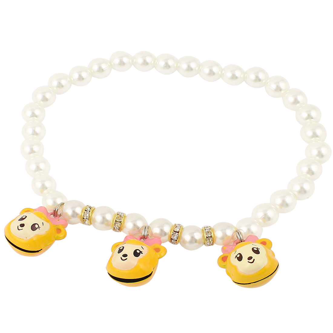 Metal Bell Pendant Rhinestone Accent Pet Dog Plastic Beads Imitation Pearls Collar Necklace White Yellow M