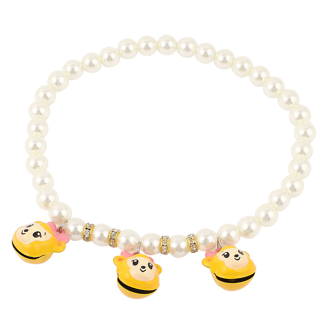 Metal Bell Pendant Rhinestone Accent Pet Dog Plastic Beads Imitation Pearls Collar Necklace White Yellow L