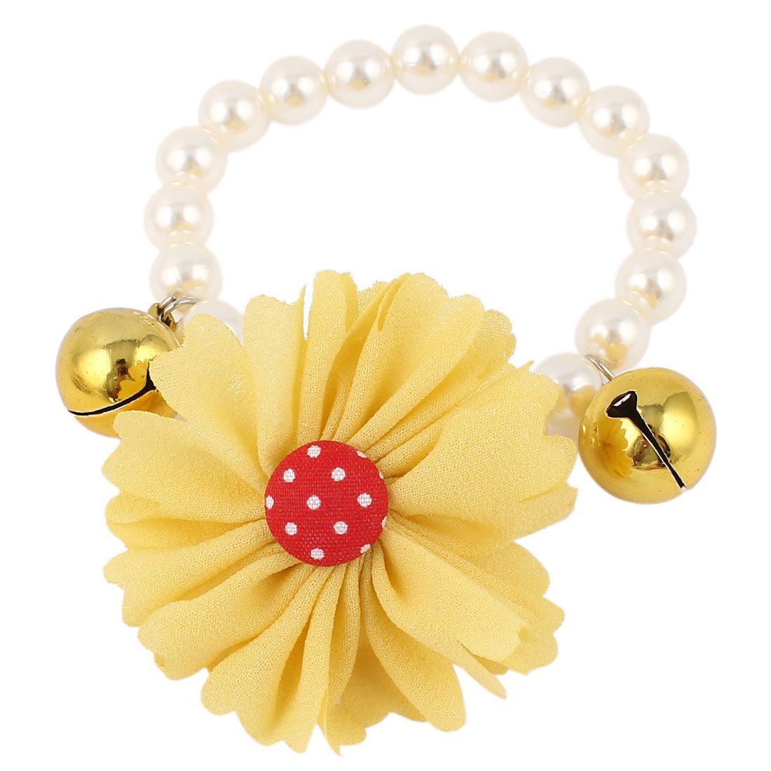 Metal Bell Pendant Flower Accent Pet Dog Plastic Beads Imitation Pearls Collar Necklace White Yellow XS