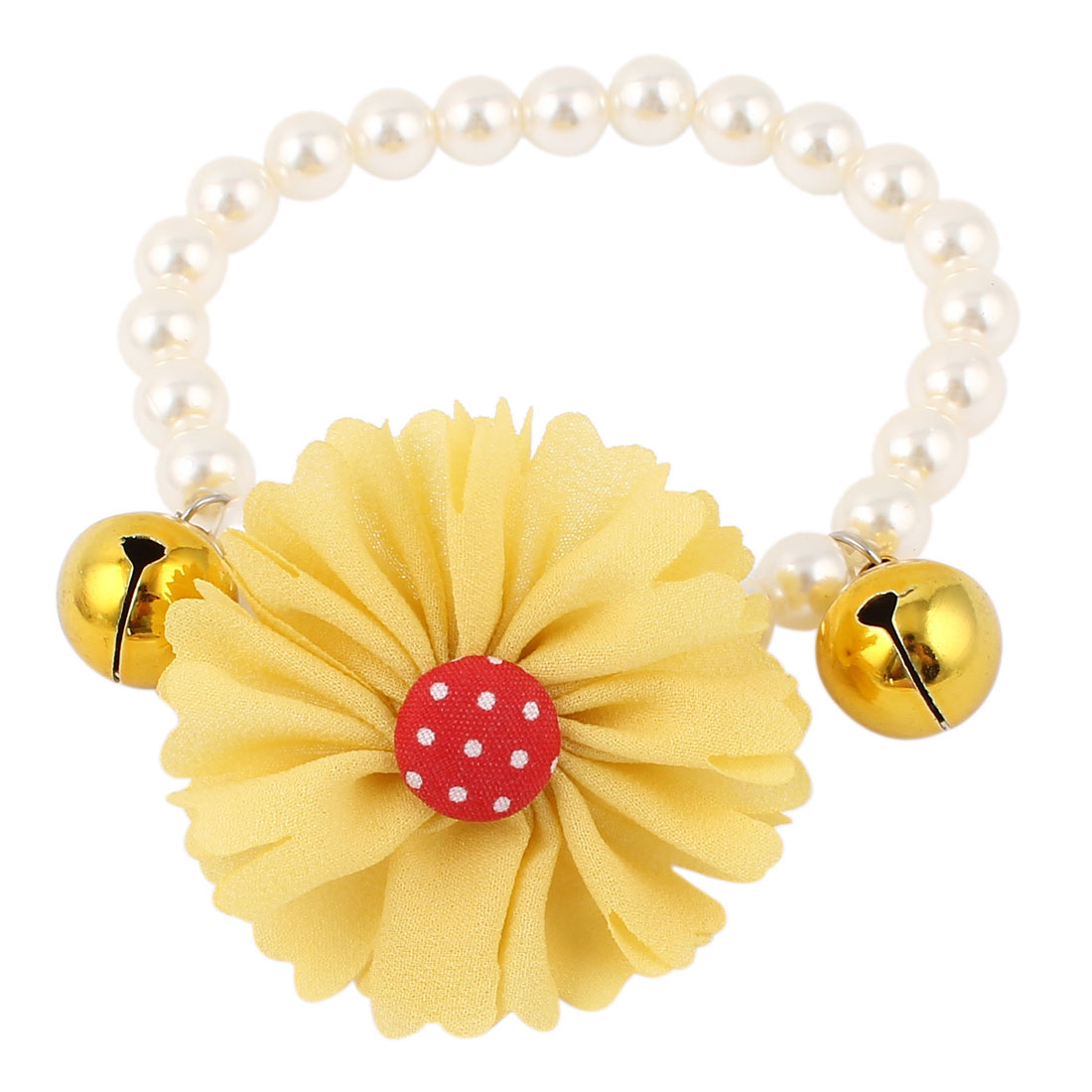 Metal Bell Pendant Flower Accent Pet Dog Plastic Beads Imitation Pearls Collar Necklace White Yellow S