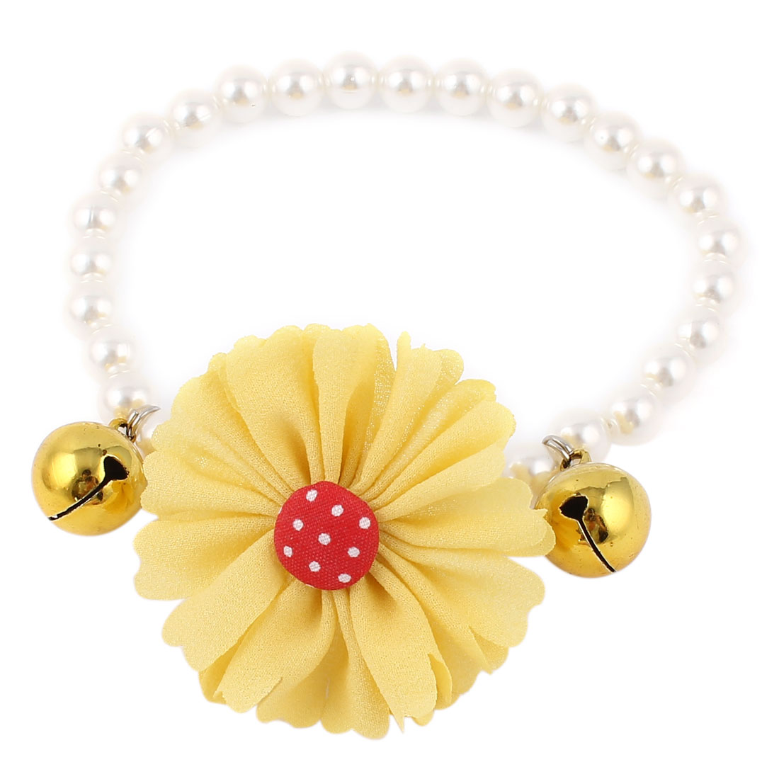 Metal Bell Pendant Flower Detail Pet Dog Beads Imitation Pearls Collar Necklace White Yellow M