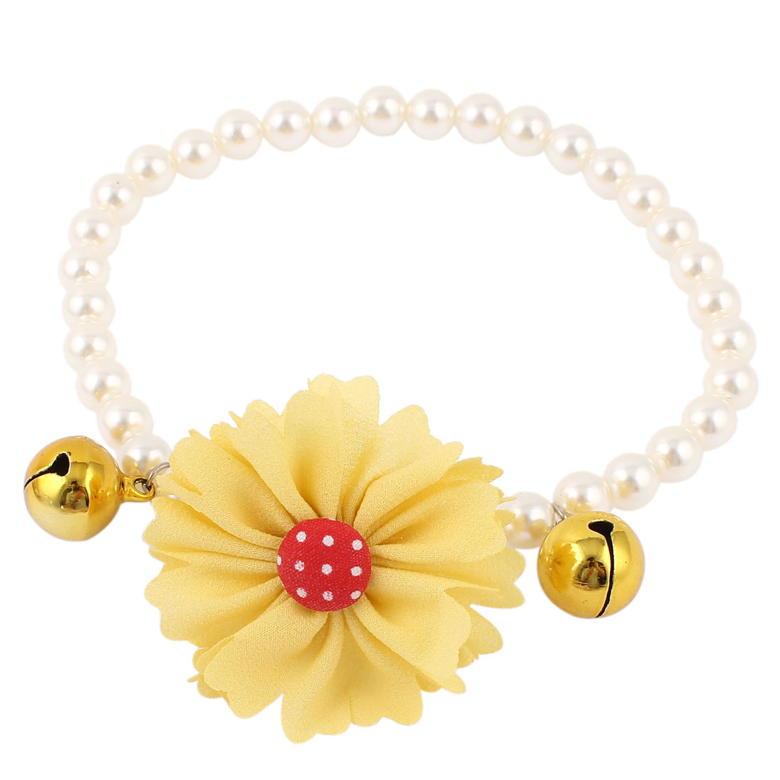 Metal Bell Pendant Flower Accent Pet Dog Plastic Beads Pearls Collar Necklace White Yellow L