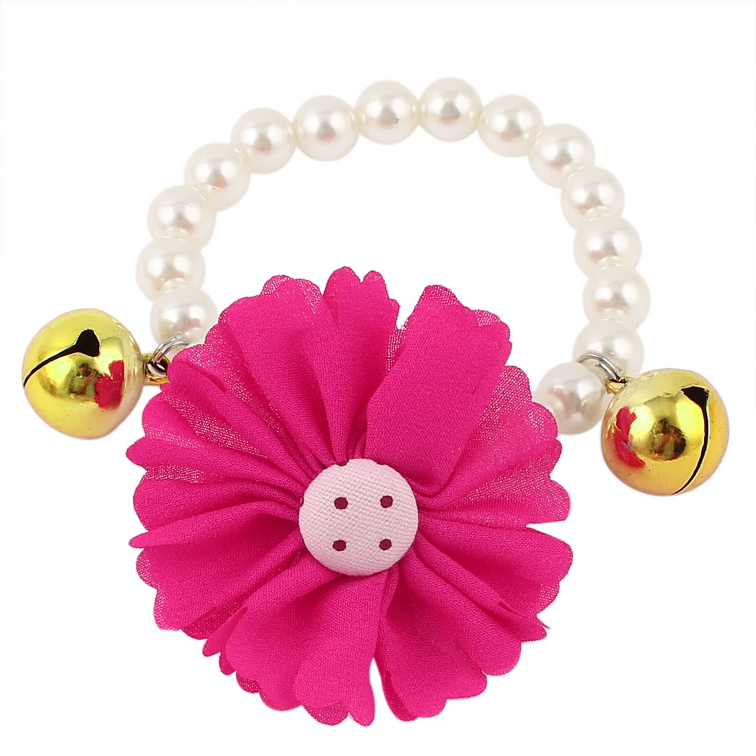 Metal Bell Pendant Flower Accent Pet Dog Plastic Beads Pearls Collar Necklace White Fuchsia XS