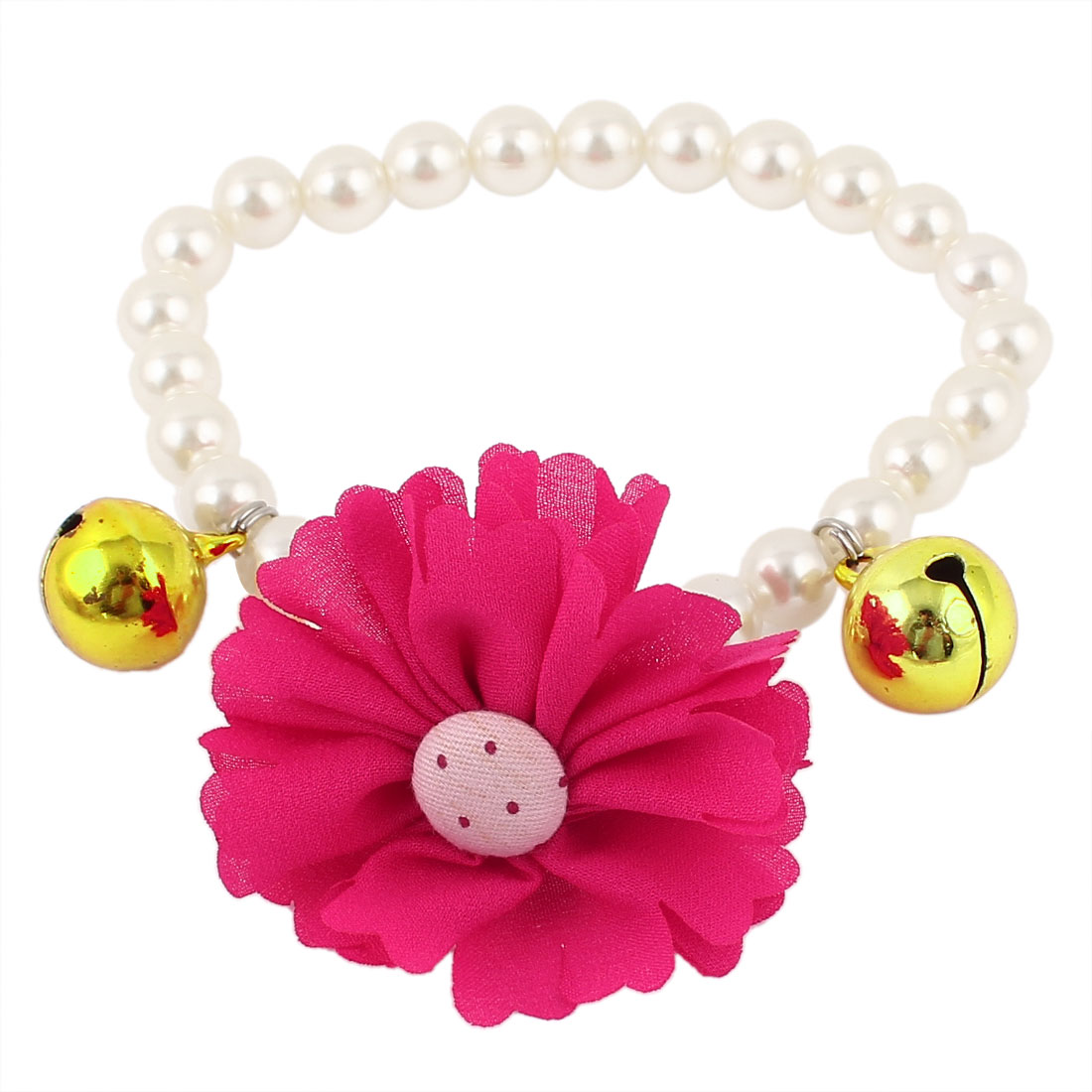 Metal Bell Pendant Flower Accent Pet Dog Plastic Beads Pearls Collar Necklace White Fuchsia S
