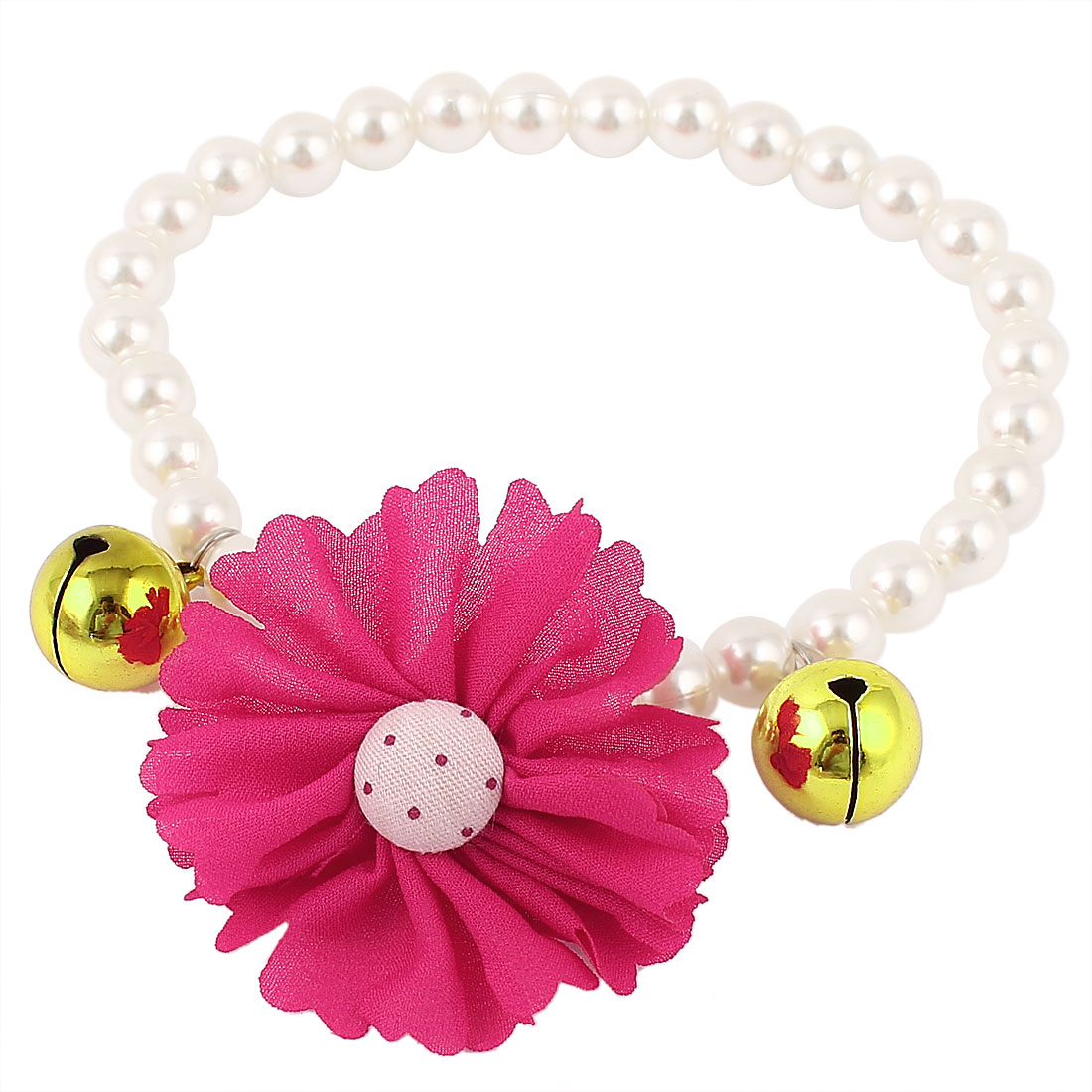 Metal Bell Pendant Flower Accent Pet Dog Plastic Beads Pearls Collar Necklace White Fuchsia M