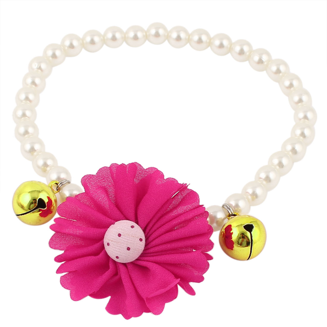 Metal Bell Pendant Flower Accent Pet Dog Plastic Beads Pearls Collar Necklace White Fuchsia L