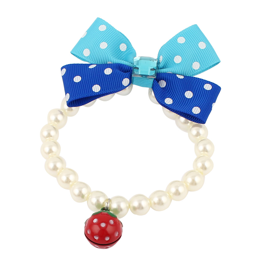 Metal Bell Pendant Bowknot Accent Pet Dog Plastic Beads Imitation Pearls Collar Necklace White XS