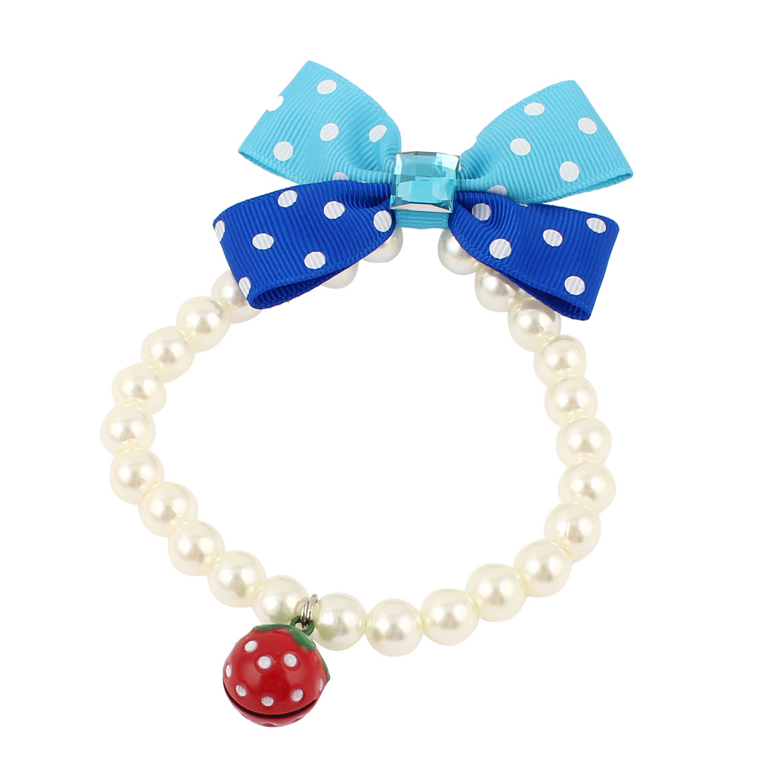Metal Bell Pendant Bowknot Accent Pet Dog Plastic Beads Imitation Pearls Collar Necklace White S