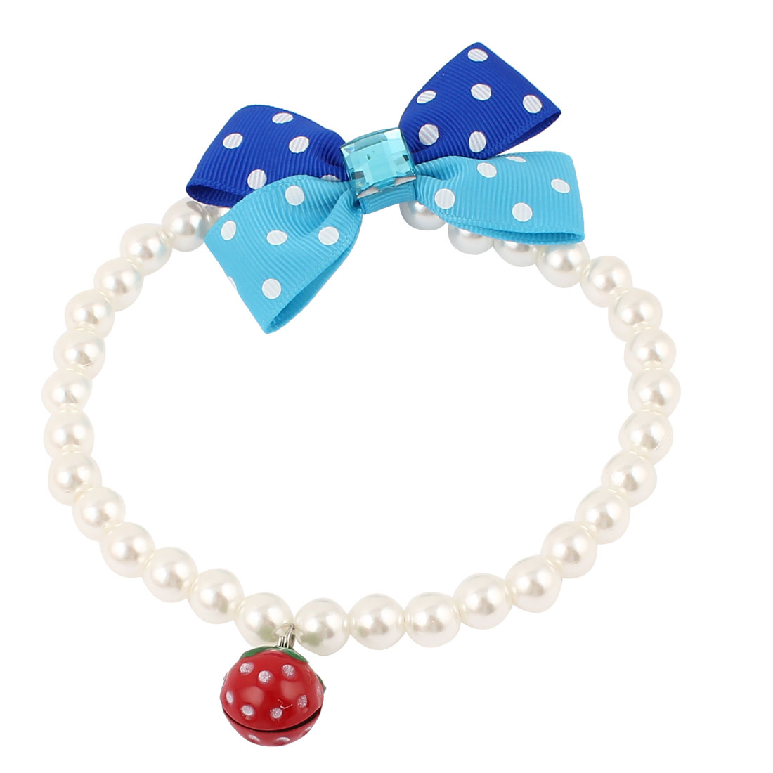 Metal Bell Pendant Bowknot Accent Pet Dog Plastic Beads Pearls Collar Necklace White M
