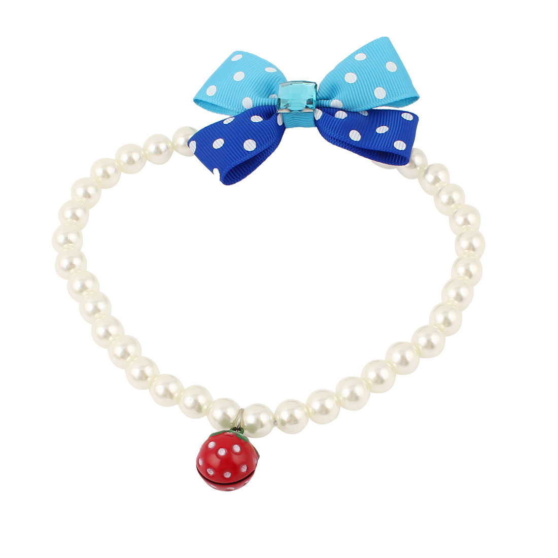 Metal Bell Pendant Bowknot Accent Pet Dog Plastic Beads Pearls Collar Necklace White L