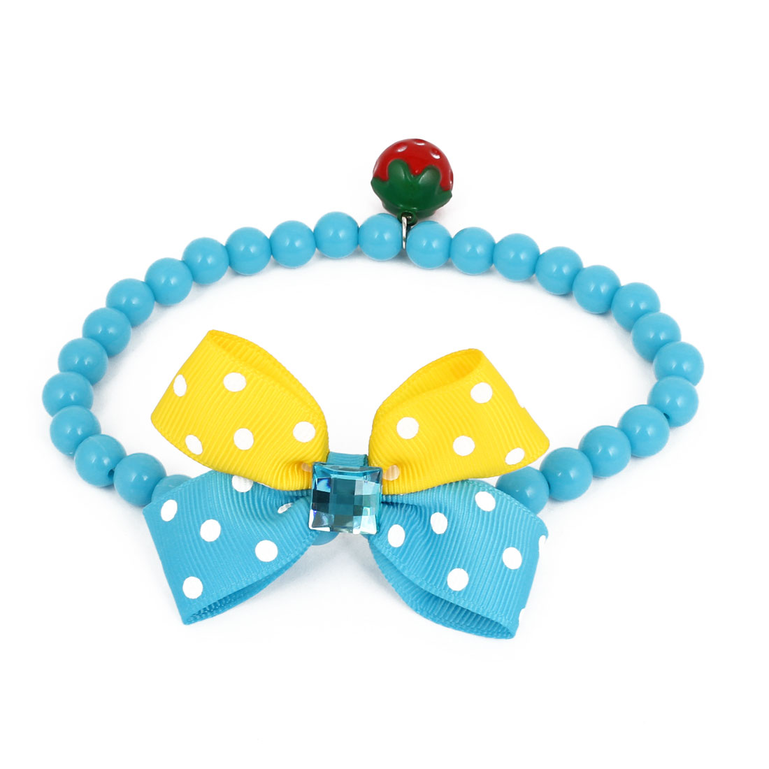 Metal Bell Pendant Bowtie Accent Pet Dog Plastic Round Beads Collar Necklace Blue M
