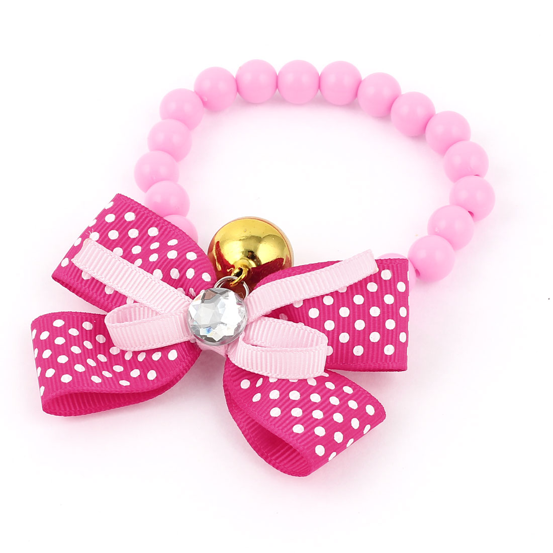 Metal Bell Pendant Bowtie Accent Pet Dog Plastic Beads Collar Necklace Pink Fuchsia XS