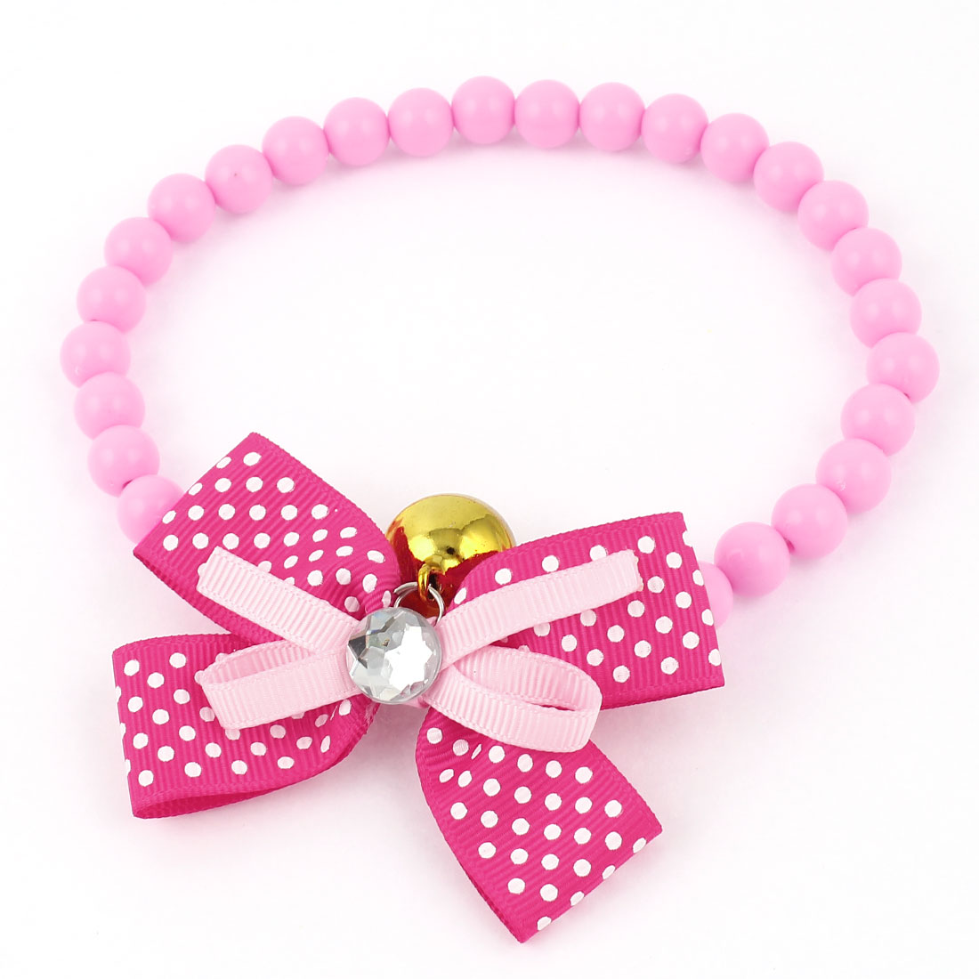 Metal Bell Pendant Bowtie Accent Pet Dog Plastic Beads Collar Necklace Pink Fuchsia M