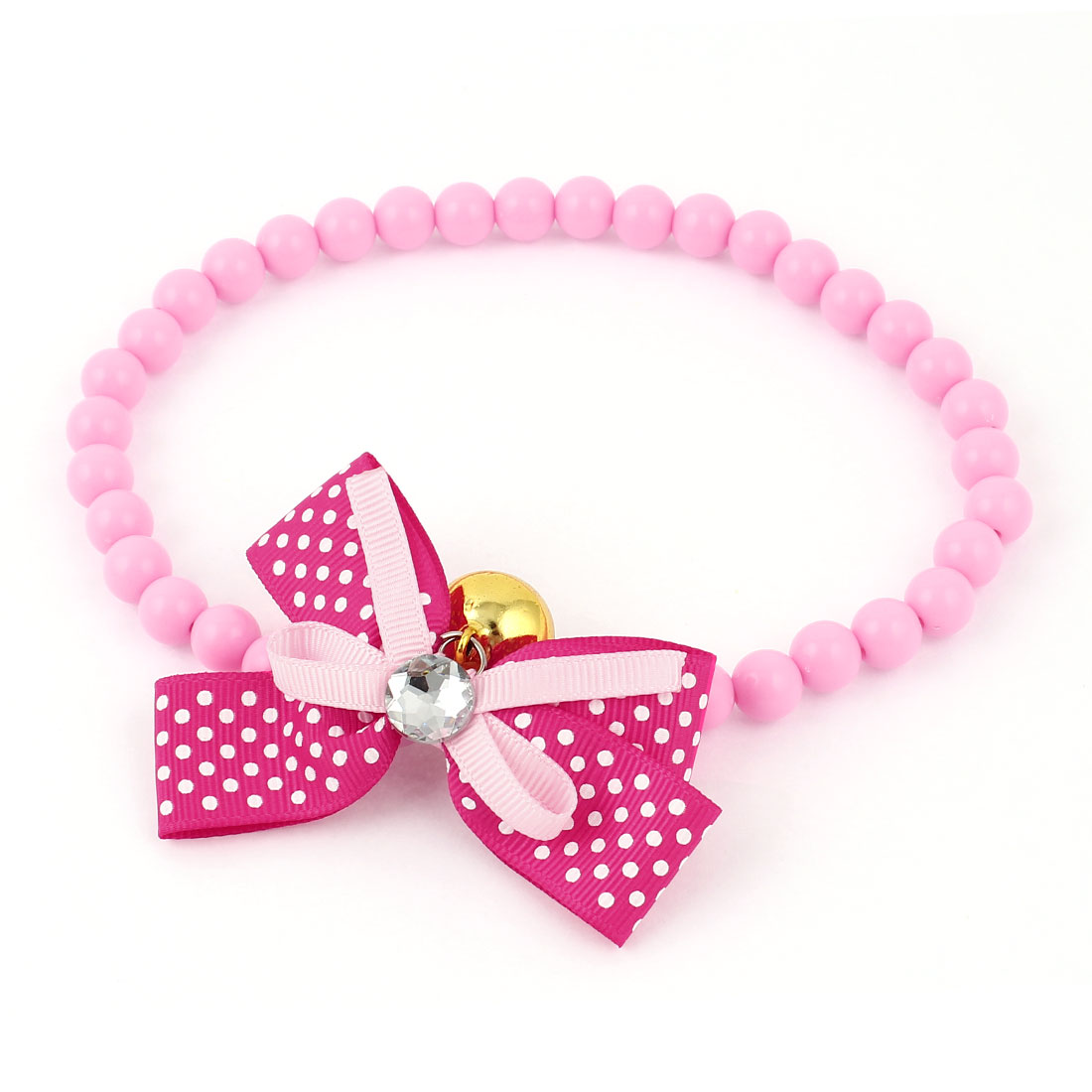 Metal Bell Pendant Bowtie Accent Pet Dog Plastic Beads Collar Necklace Pink Fuchsia L