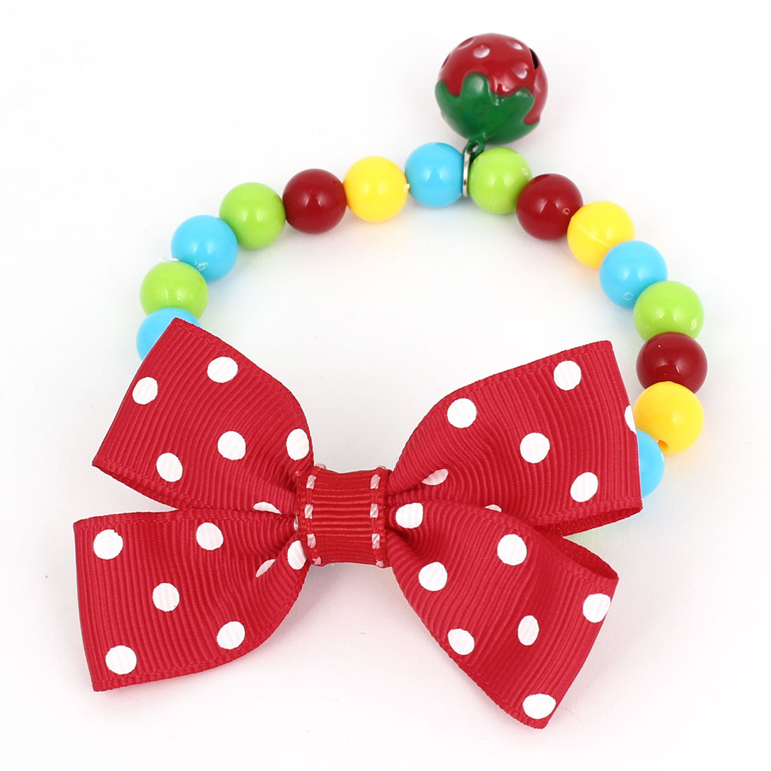 Metal Bell Pendant Bowtie Accent Pet Dog Plastic Beads Collar Necklace Assorted Color XS