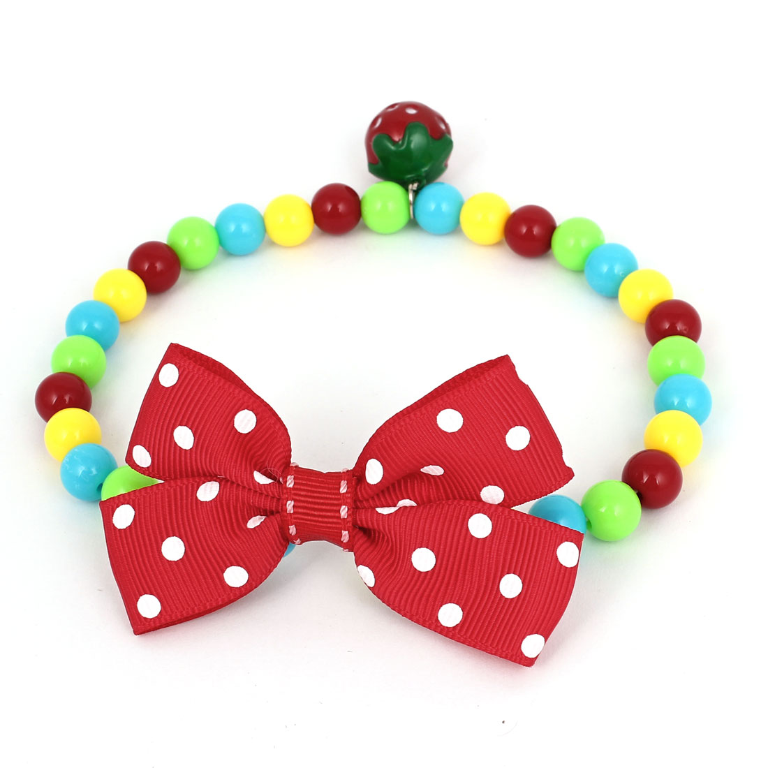 Metal Bell Pendant Bowtie Accent Pet Dog Plastic Beads Collar Necklace Assorted Color M