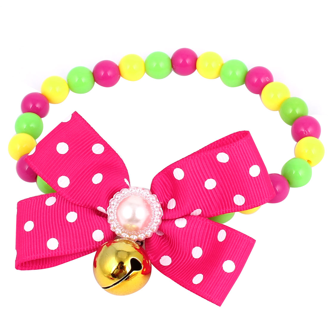 Metal Bell Pendant Bowtie Accent Pet Dog Plastic Round Beads Collar Necklace Assorted Color S