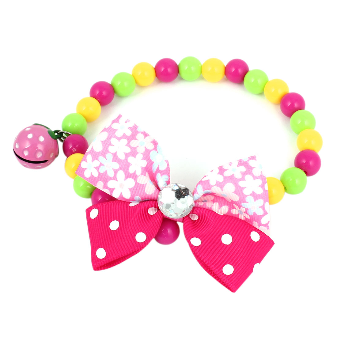 Metal Bell Pendant Bowtie Accent Pet Dog Plastic Round Beads Collar Necklace Assorted Color XS
